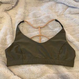 Onzie Flow forest green multiple strap sports bra size S/M